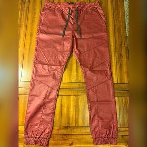 Guess maroon jogger style pants